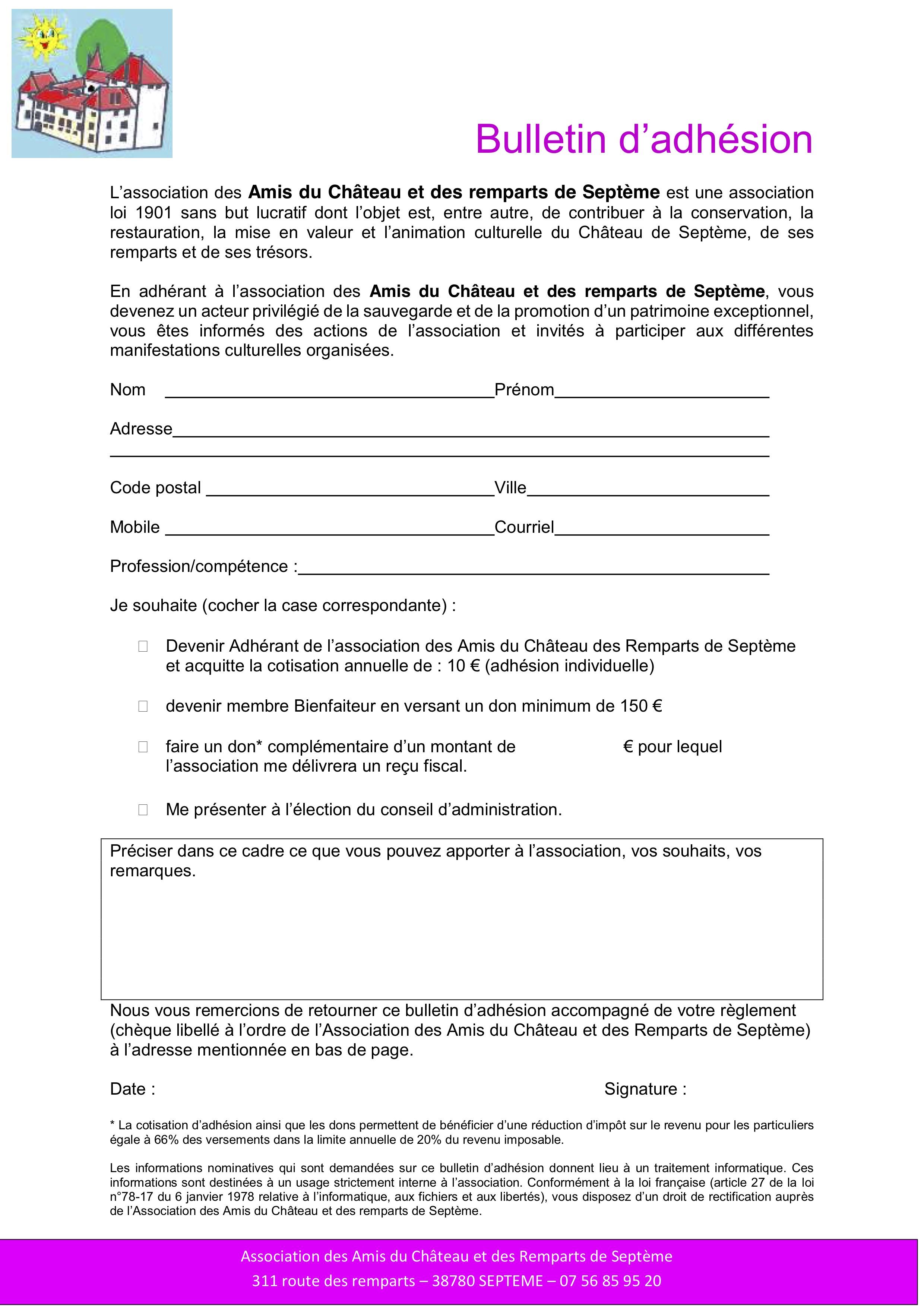 bulletin d'adhésion amis du chateau