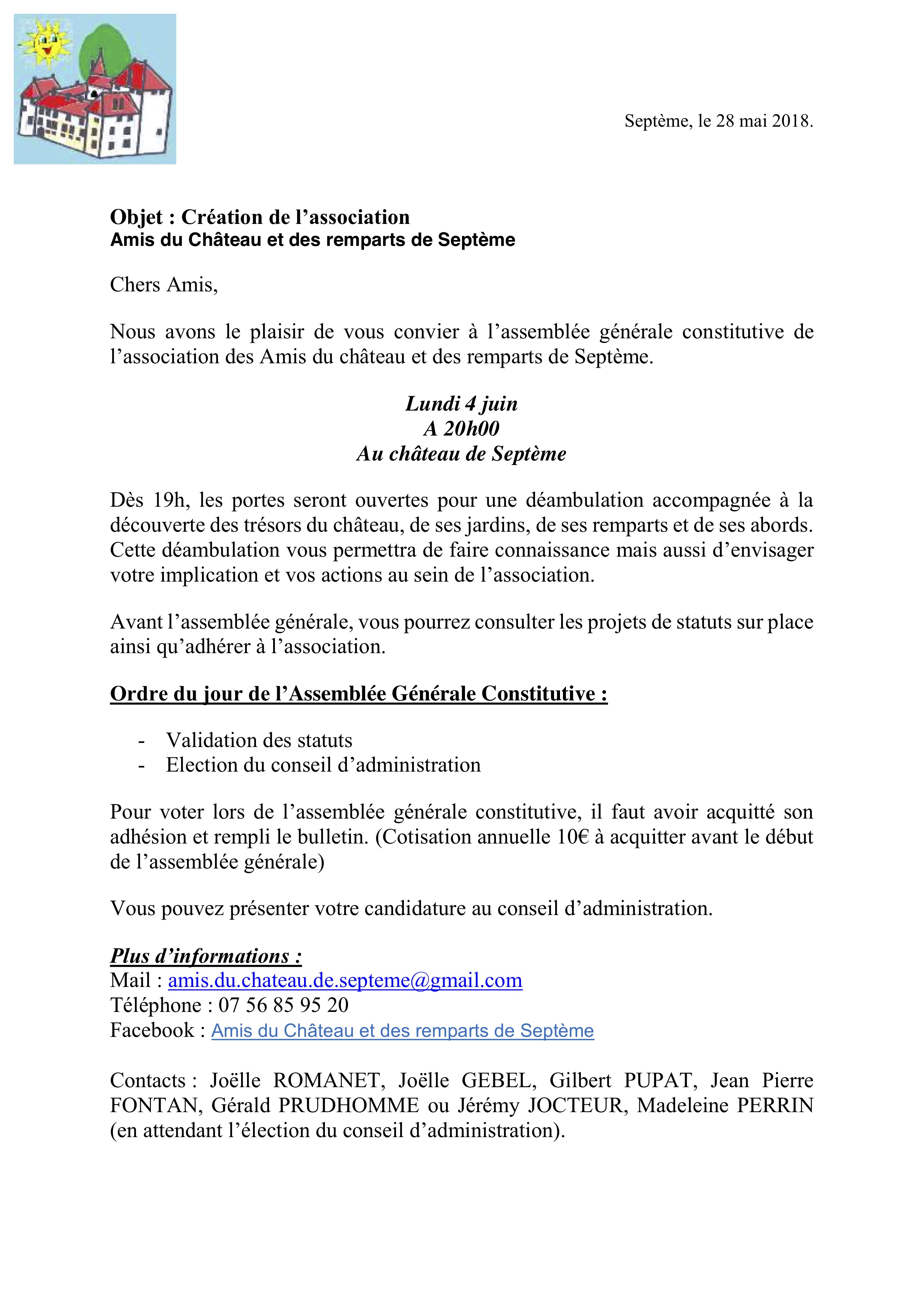courrier invitation AG constitutive