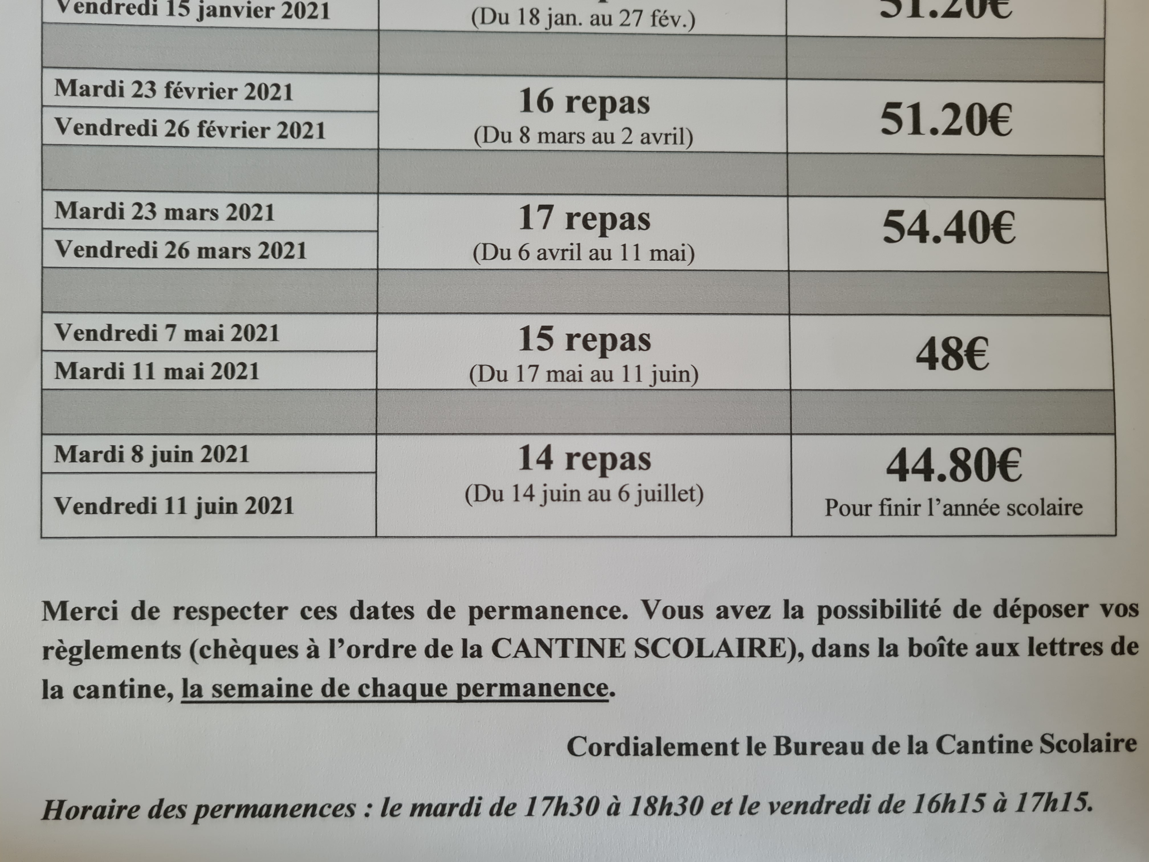 permanences cantine 2021